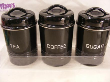 BNIB SET OF 3 BLACK STAINLESS STEEL KITCHEN CANISTERS - COFFEE,TEA,SUGAR